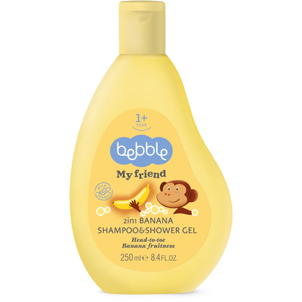 Detský šampón a sprchový gél 2v1 banán Bebble 250 ml