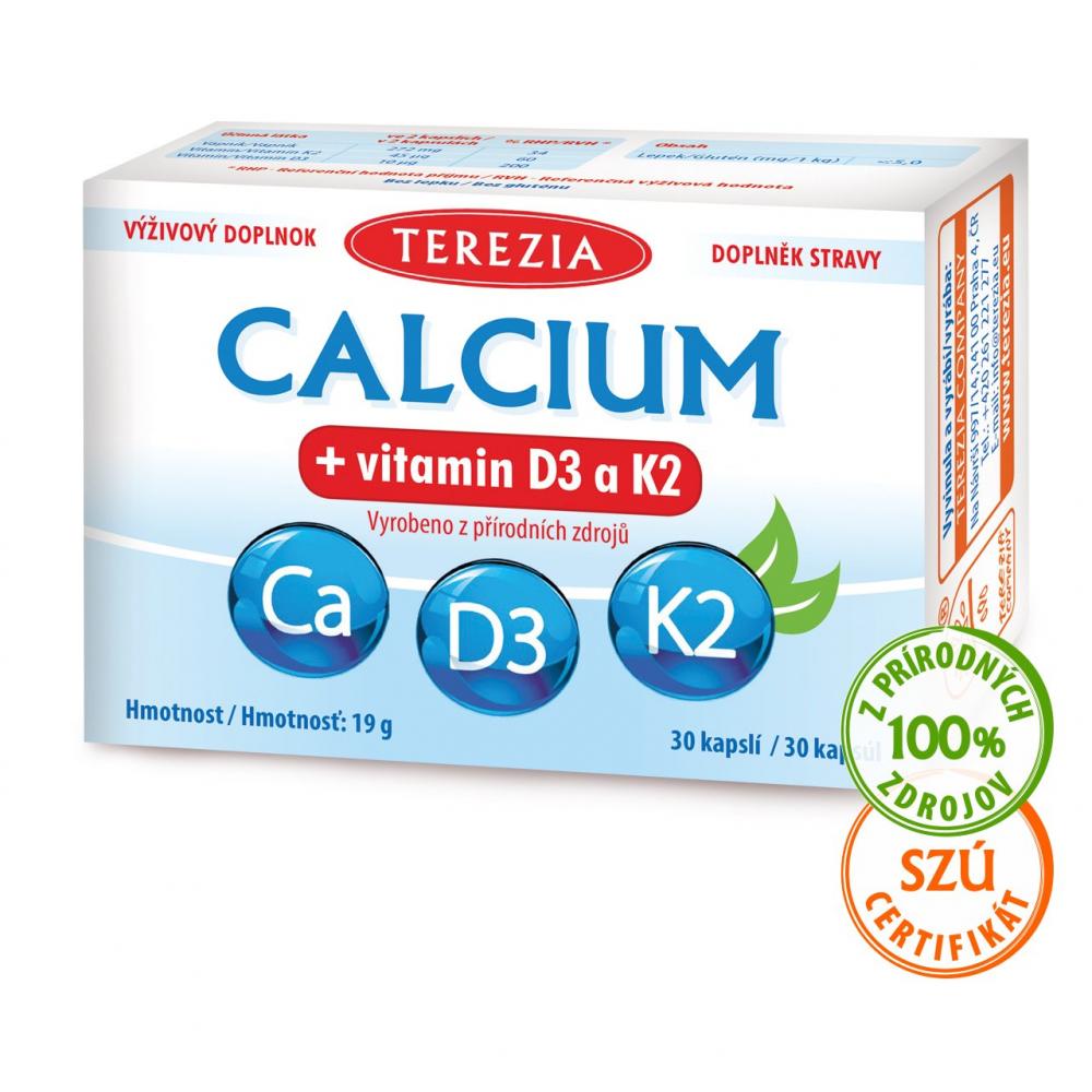 Calcium + vitamín D3 a K2 TEREZIA 30 kapsúl