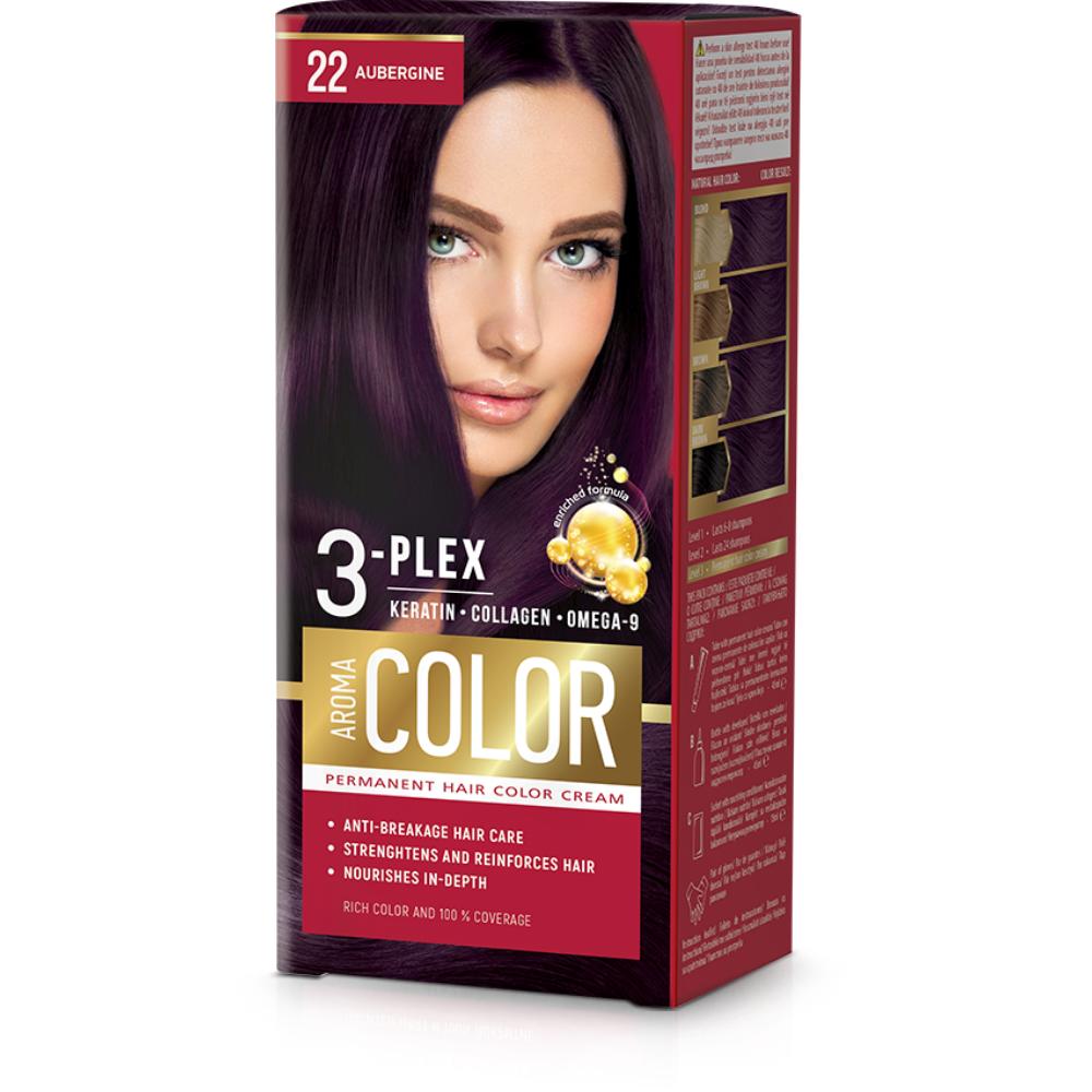 Farba na vlasy - baklažán č. 22 Aroma Color