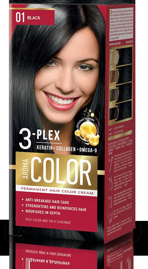 Farba na vlasy - čierna č. 01 Aroma Color