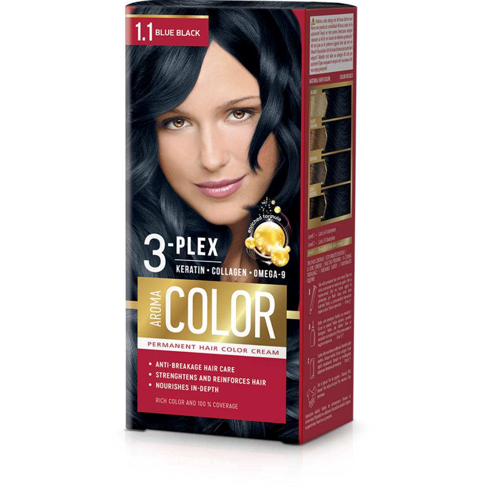 Farba na vlasy - modro čierna č. 1.1 Aroma Color