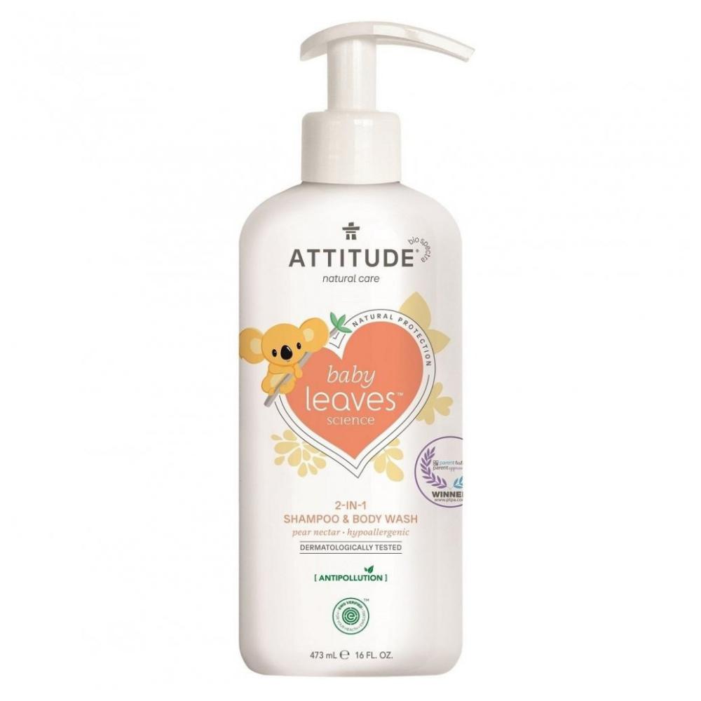 Baby leaves Detské telové mydlo a šampón (2v1) s vôňou Hruškovej šťavy Attitude 473ml