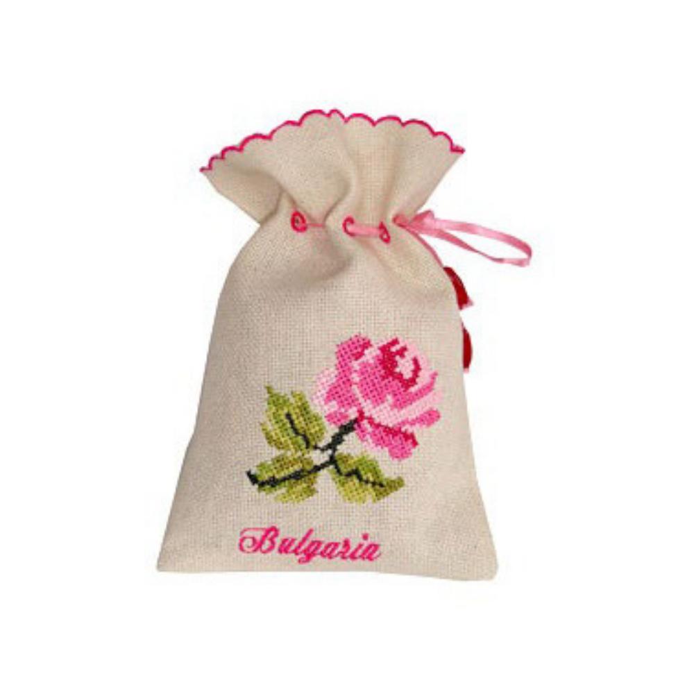 Sušené lístky ruží vo vyšívanom plátennom vrecúšku Lema 10 g